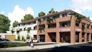 Das neue Gebäude mit dem Drogeriemarkt Rossamnn wird an der Ecke Große Straße/Kampstraße errichtet. Für das Vorhaben werden zwei Häuser abgerissen.