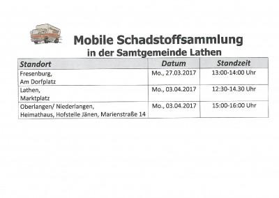 Mobile Schadstoffsammlung in der Samtgemeinde Lathen