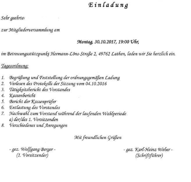 einladung zur mitgliederversammlung senioren-betreuung-lathen e.v., Einladung