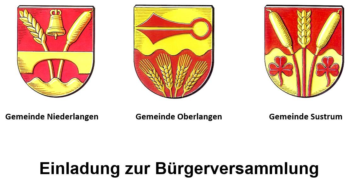 Bürgerversammlungen in den Gemeinden Niederlangen, Oberlangen und Sustrum