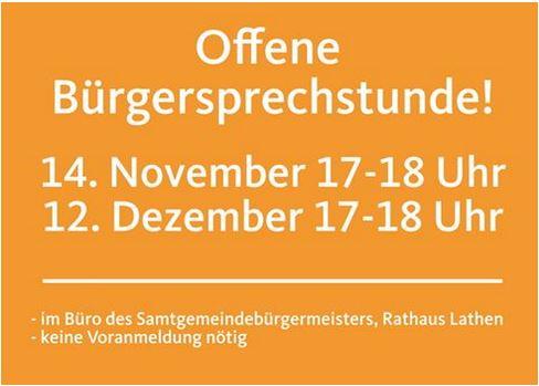 Offene Bürgersprechstunde am 14. November 2019 und 12. Dezember 2019