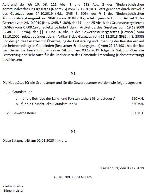 Hebesatzsatzung Fresenburg