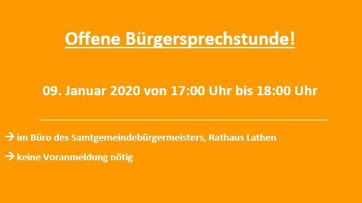 Offene Bürgersprechstunde am 09. Januar 2020