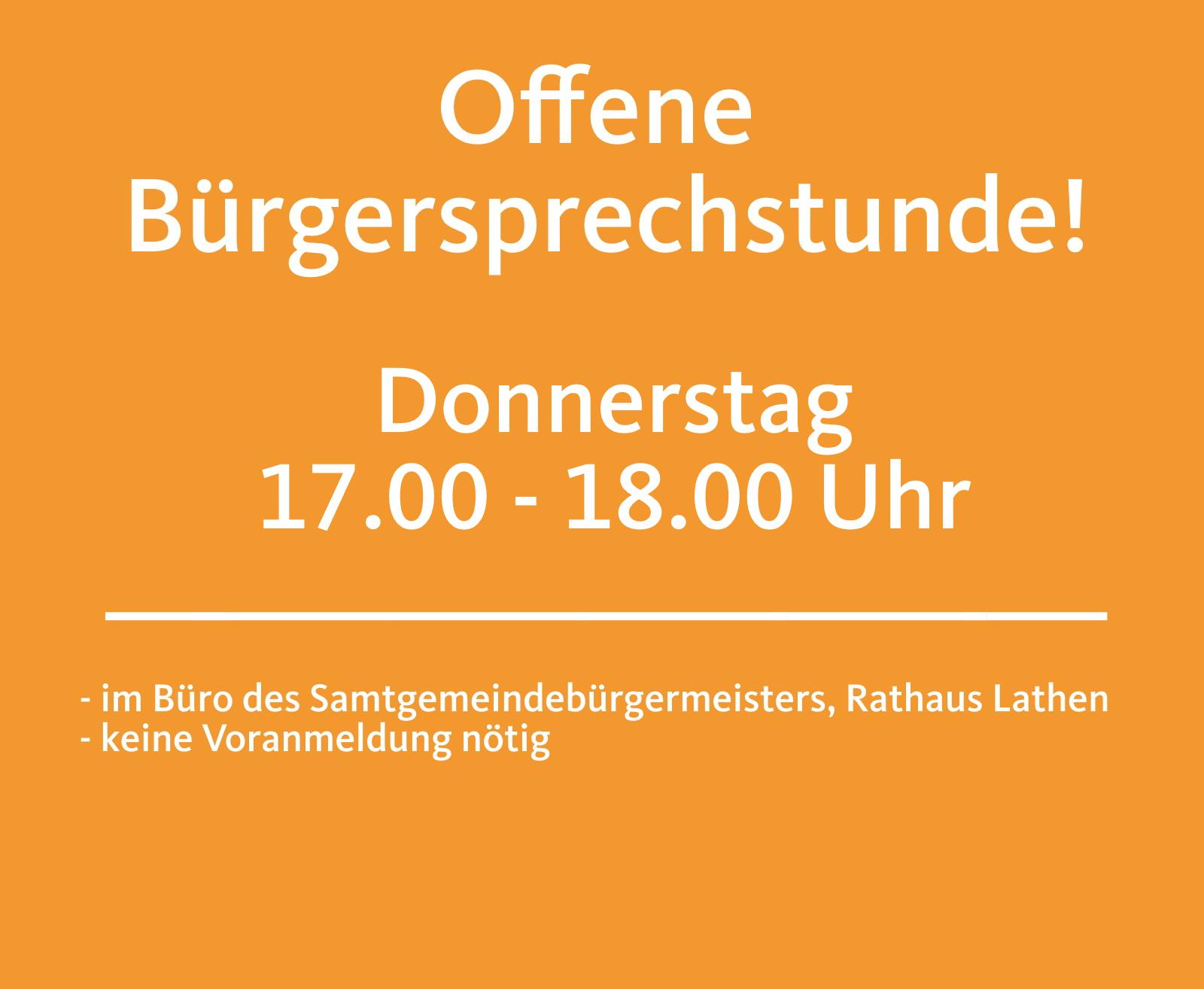Offene Bürgersprechstunde am Donnerstag, 13.02.2020