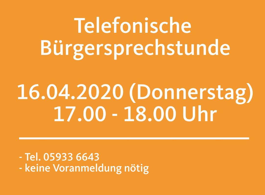Telefonische Bürgersprechstunde am 16.04.2020