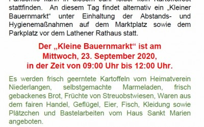 """""""Kleiner Bauernmarkt"""" auf dem Lathener Wochenmarkt – 23.09.2020"""