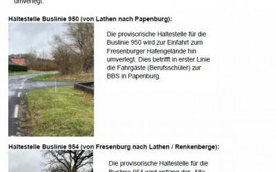 Bushaltestelle am Dorfplatz in Fresenburg